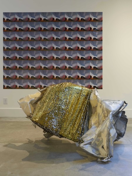 Untitled (trailer rubble with gold sequins)// We Are in the Tornado